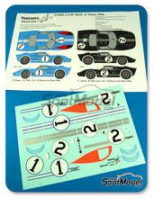 Calcas 1/24 Renaissance Models - Ford GT40 Mk II - Nº 1, 2 - Hulme + Miles, Amon + McLaren - 24 Horas de Le Mans 1966 para kits de Fujimi FJ12101, FJ12102, FJ12103