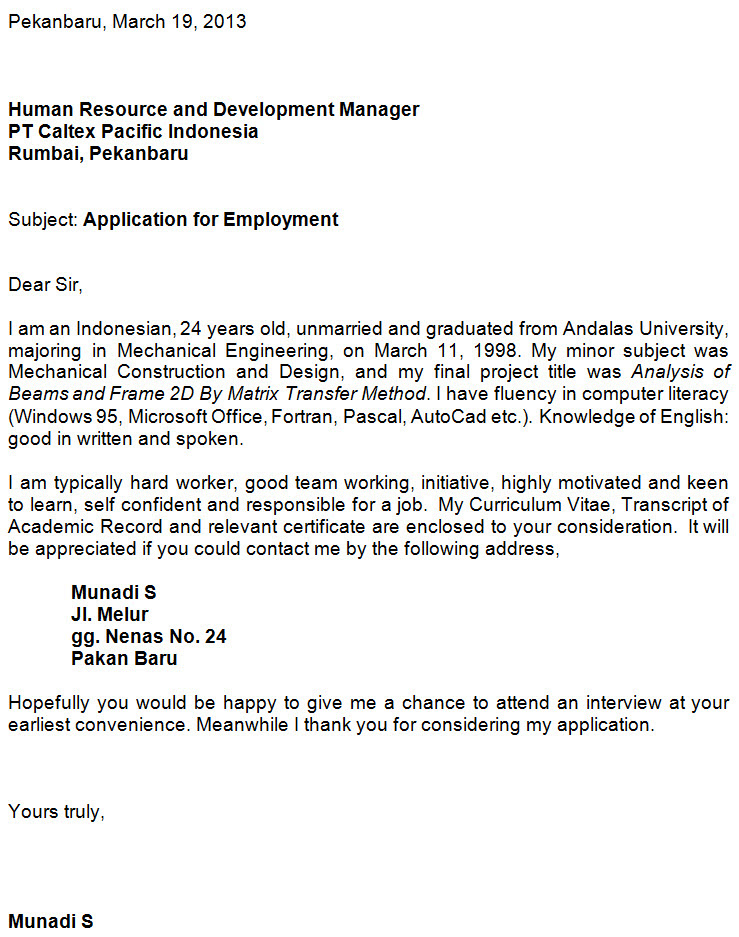 Contoh Application Letter Magang Bahasa Inggris - Contoh Jen