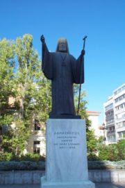 Statue of Archbishop Damaskinos near the Metropolitan Cathedral of Athens