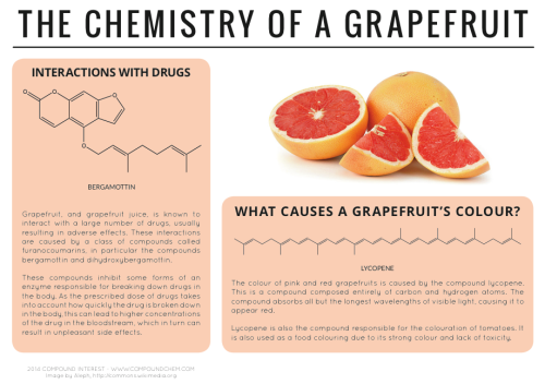 compoundchem:  Why does grapefruit cause side effects with some drugs? Read more here: http://wp.me/p4aPLT-7h