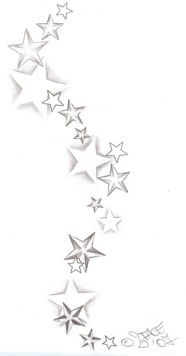 Black Tribal And Pink Star Tattoo Design Sample