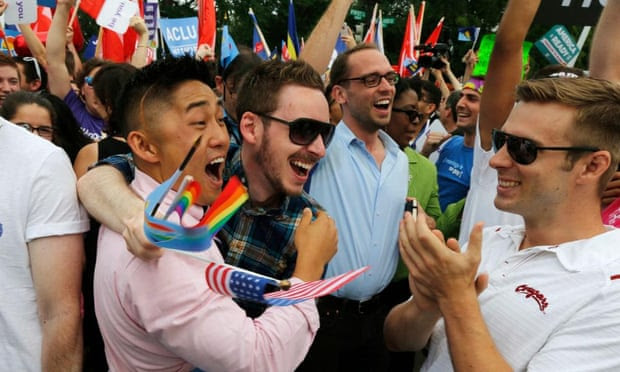 Gay rights supporters celebrate after the US supreme court ruled that the constitution provides same-sex couples the right to marry.