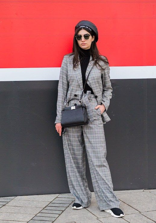 Le Fashion Blog Russia Fashion Week Black Hat Plaid Pantsuit Blazer Black Turtleneck Sneakers Via Vogue