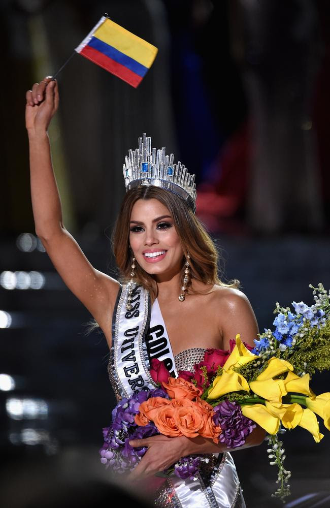 Miss Colombia 2015, Ariadna Gutierrez, is incorrectly named Miss Universe 2015 instead of First Runner-up during the 2015 Miss Universe on December 20, 2015 in Las Vegas. Picture: Getty