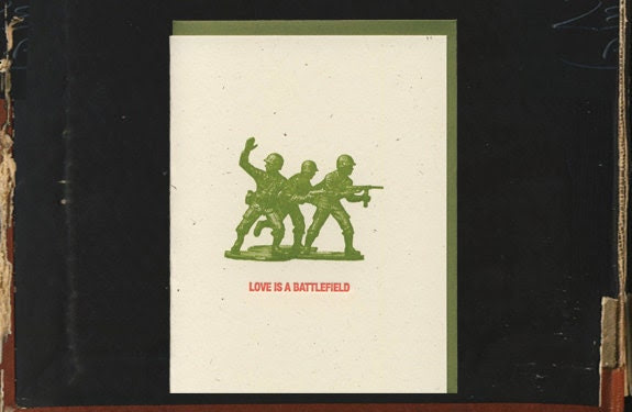 Love is a Battlefield Valentine letterpress card
