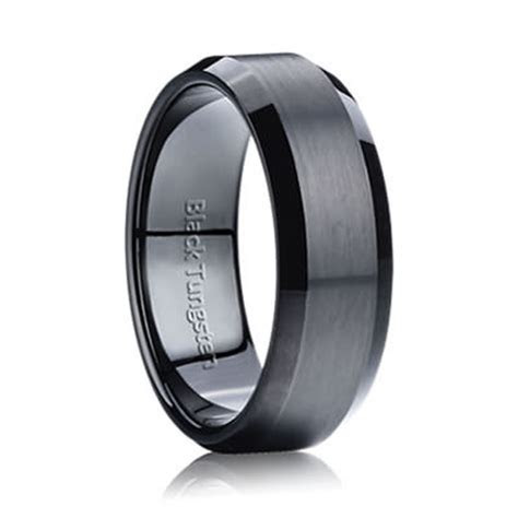 Matte Beveled Black Tungsten 7mm   Mens & Womens Tungsten