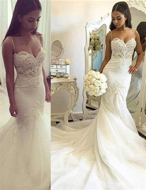 Nectarean Spaghetti Straps Mermaid Court Train Wedding