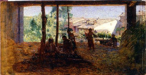 Giuseppe Pellizza da Volpedo (Volpedo, Alessandria, 1868 – 1907)  Carità cristiana, 1892, olio su tavola, cm 20x38,5