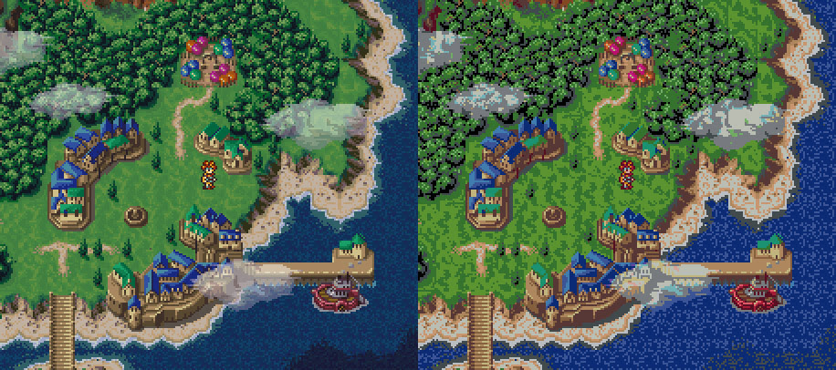 The Plan: Original Chrono Trigger screenshot (Left) and resultant conversion to Perler colors (right)