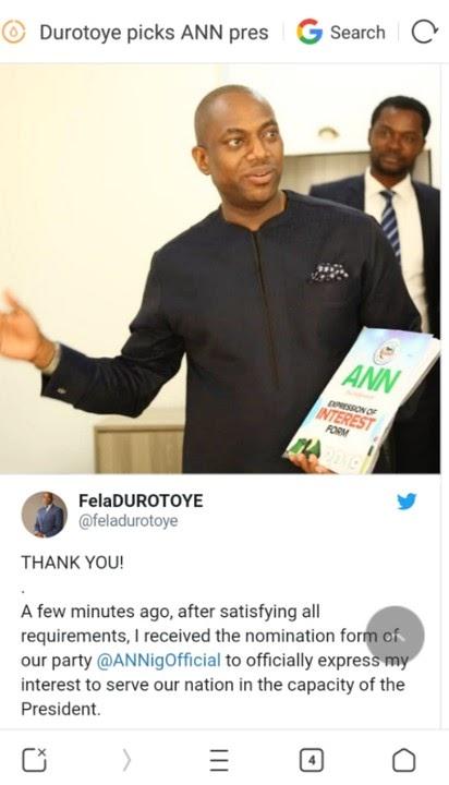 Fela Durotoye Picks ANN Presidential Nomination Forms