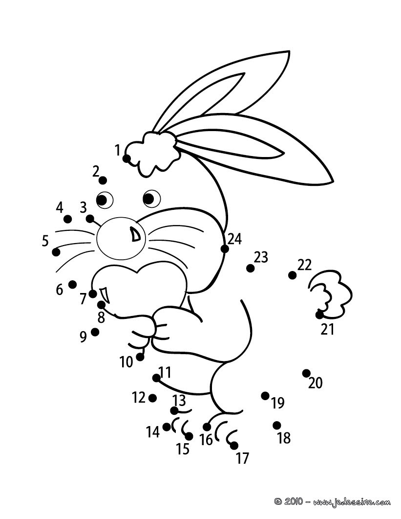 Coloriages Lapin Points à Relier Facile Frhellokidscom