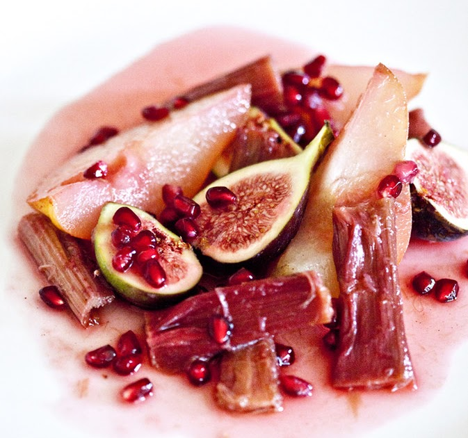 ... Gourmand: Autumn salad of pomegranate, pear & fig in rhubarb syrup