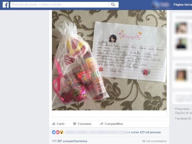 Lucielle Prado de Moraes, moradora de Goiás, conta sobre o pedido de desculpas do filho na internet (Foto: Reprodução/ Facebook)