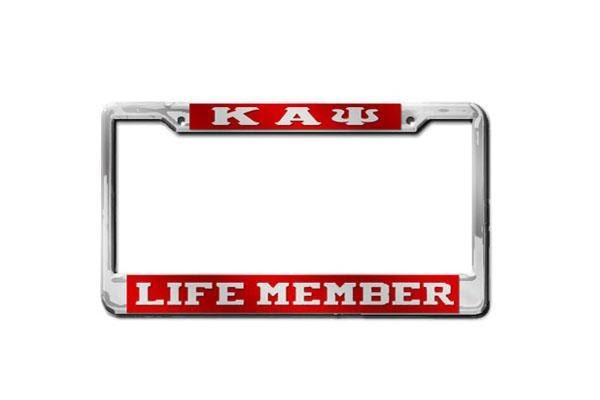 Kappa Alpha Psi Life Member License Plate Frame Red Or Silver