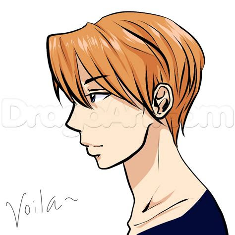 side view male anime face drawing tutorial step  step