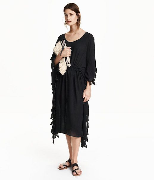 Le Fashion Blog Under 100 Black Kaftan Dress With Tassles Via H&M
