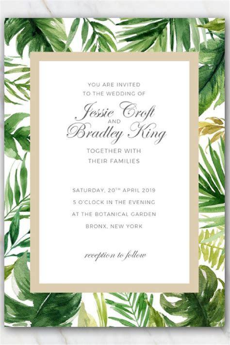 Tropical palm tree leaves wedding invitation template