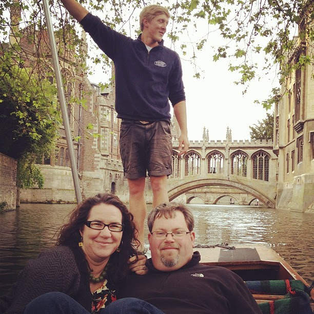 """Punting tour of """"the backs"""" with @alexruthmann and Ollie, our guide from @scudamorespunts"""
