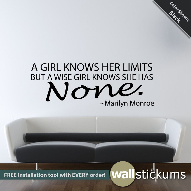 Wall Decal Marilyn Monroe Quote A girl knows her by WallStickums