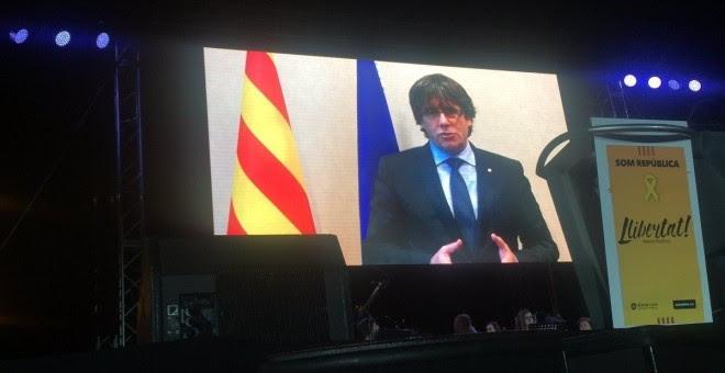 Mensaje de Carles Puigdemont para la manifestación en Barcelona. E.P.