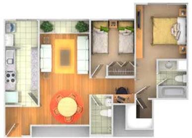 Un departamento de 65m2 aproximadamente planos de casas for Plano departamento 2 dormitorios