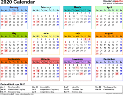 2020 Yearly Calendar Template Excel