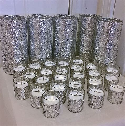 5 Vases and 25 Candles, Silver Wedding Centerpiece, Table