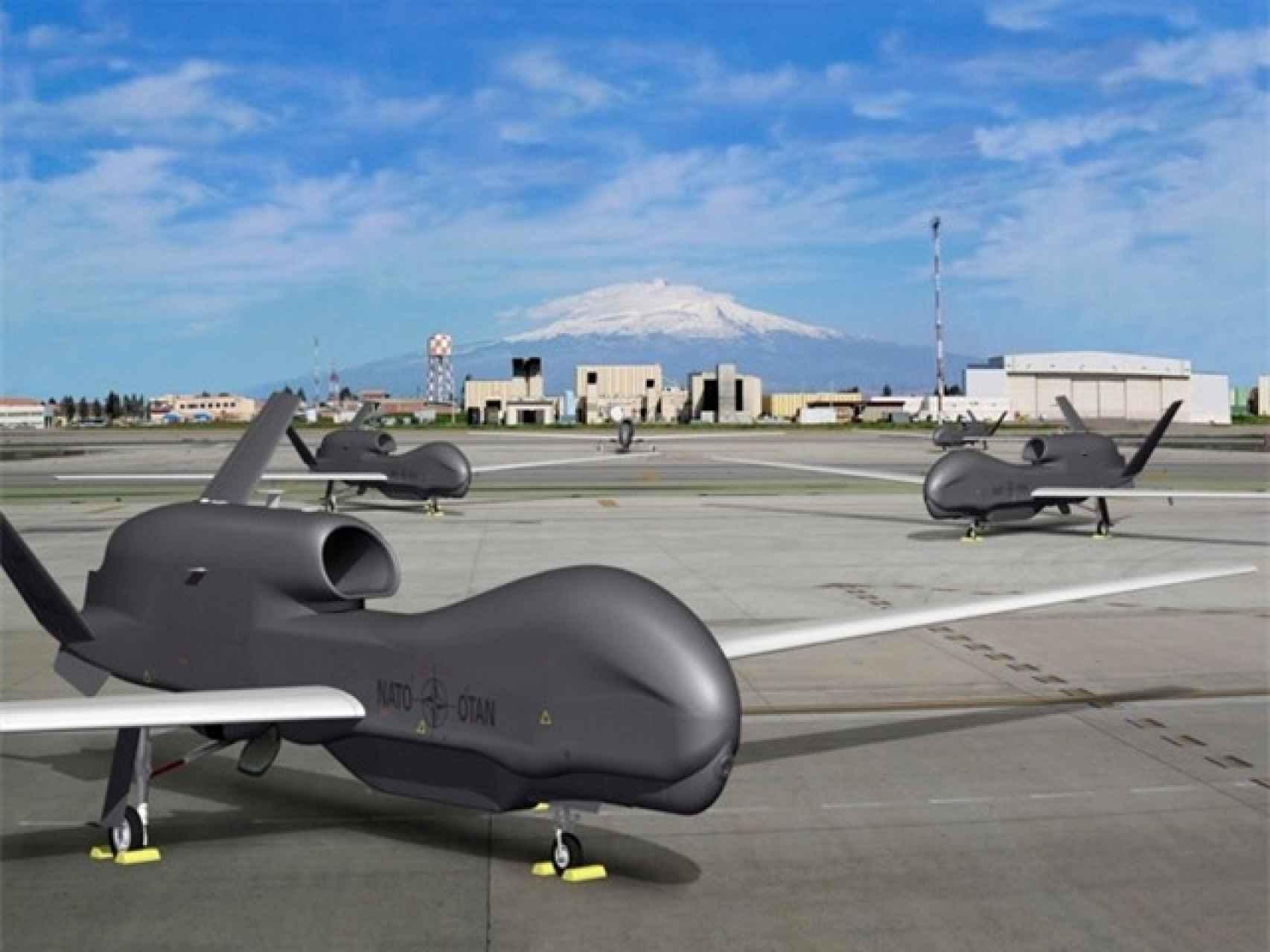Los cinco drones de la OTAN tendrán su base en Sigonella, en Sicilia (Italia).