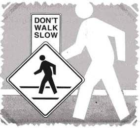 写真:早く歩くこと