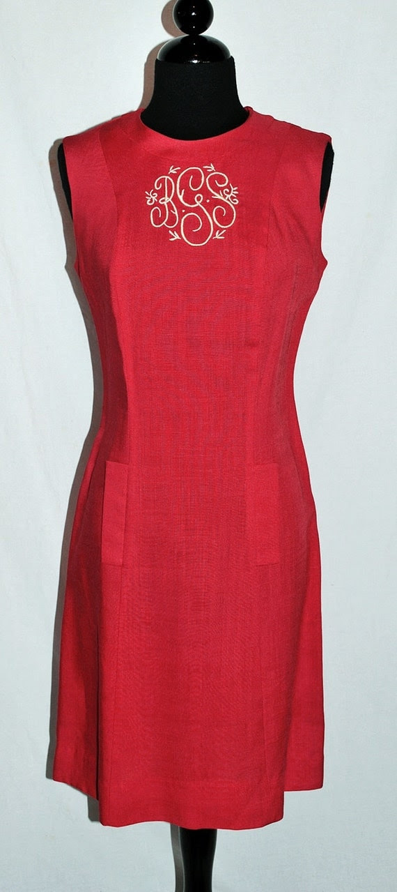 Vintage 60's 1960s Red Dress Wiggle Monogrammed Embroidered sz m