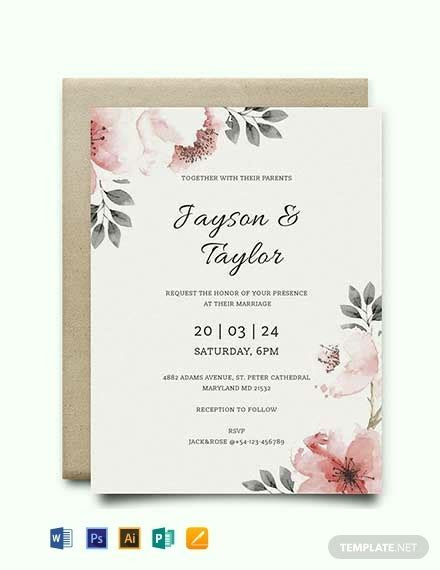 FREE Vintage Wedding Invitation Template   Word   PSD