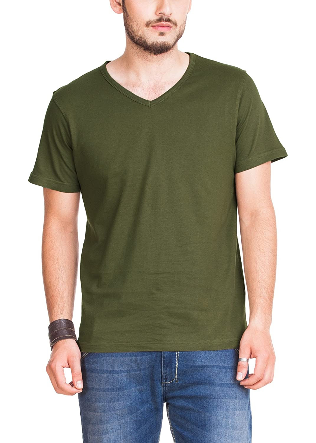 fe23b1a6 Zovi Men's Cotton Forest Green Solid V-neck T-shirt. Rs.157/-