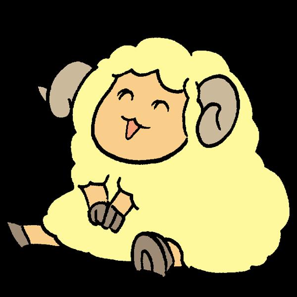 羊座るのイラスト かわいいフリー素材が無料のイラストレイン