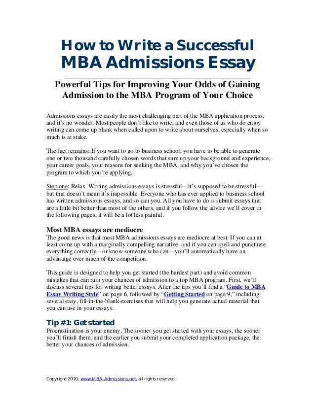 how to write mba essays