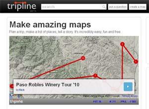 Para documentar a viagem de forma gráfica, o Tripline cria mapas interativos, que agregam fotos, histórias e gastronomia