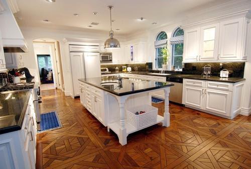 kitchens - Yoke Pendant white kitchen granite wood floors  Tori Spelling's white kitchen  Parquet wood floors, white kitchen cabinets, black