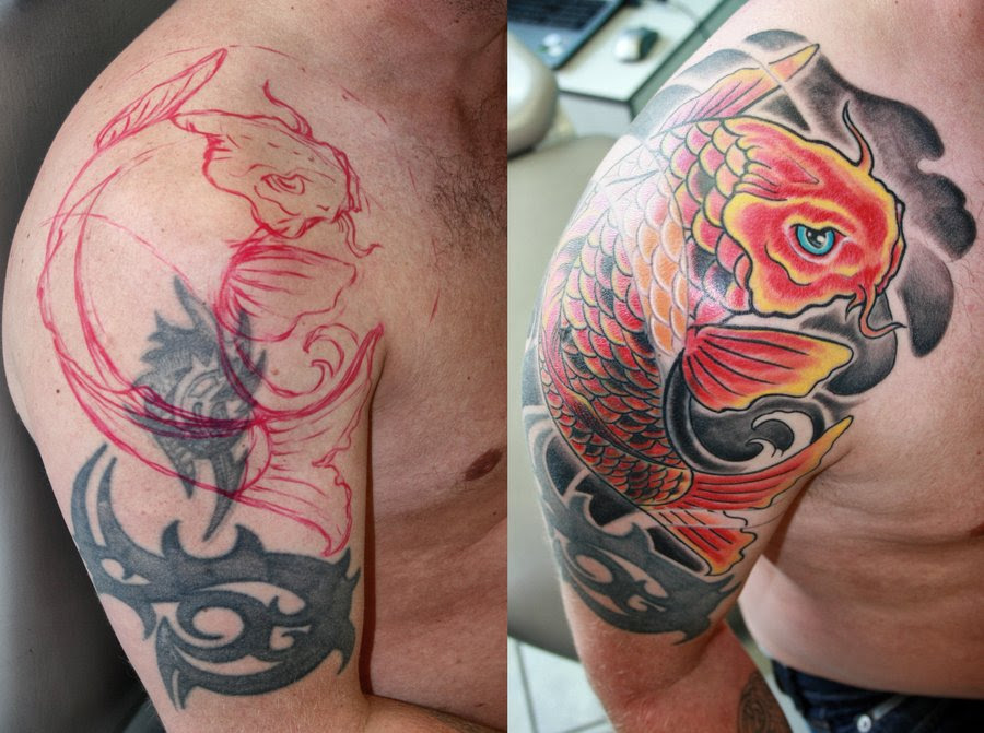 Cover Up Fire And Flame With Koi Fish Tattoo