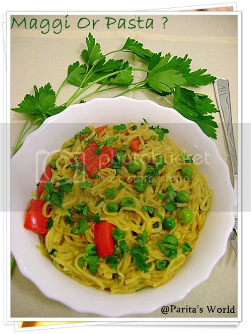 Italian,Noodles,Maggi,Vegetarian,Vegetables,Parsley,Bell Peppers,Green Peas