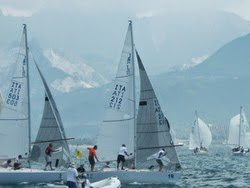 J/24 one-design sailboats- sailing off Italy