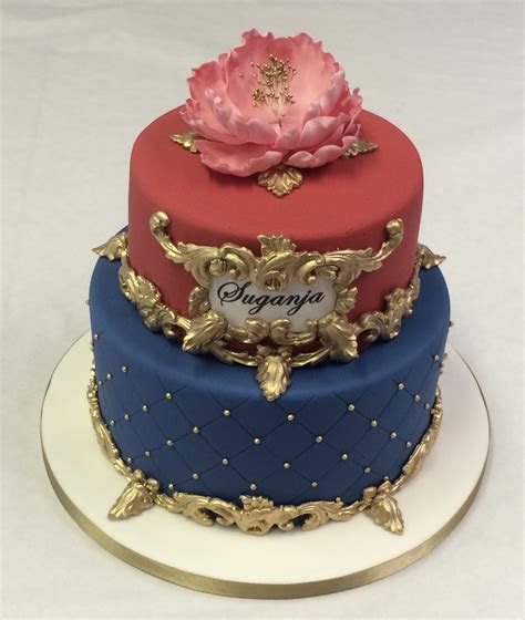 2 Tier Red, Blue and Gold Cake   Adult Birthday Cakes