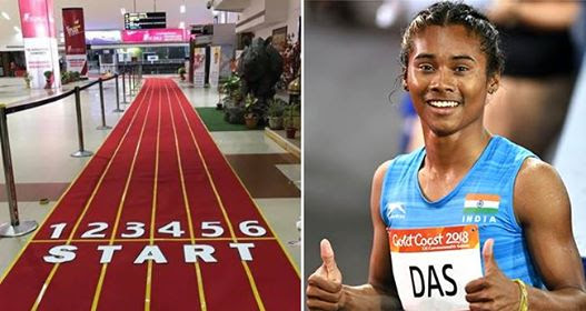 Hima Das Welcomed With Special Track Carpet At The Guwahati Airport