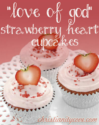 Strawberry Heart Cupcakes by Christianity Cove