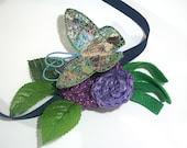 Spring Headband butterfly green leaves blue purple crochet circles flower nature cute hair accessory fabric grass fleece girl woman fairy - TUKON