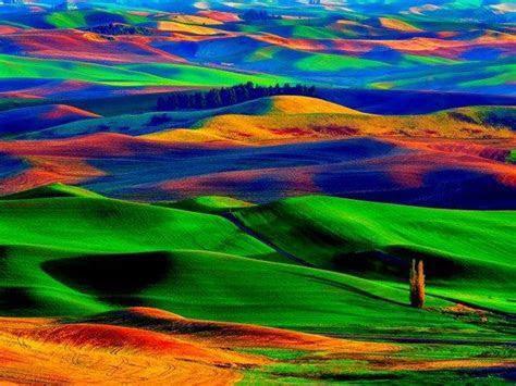 colorful palouse hills washington state usa