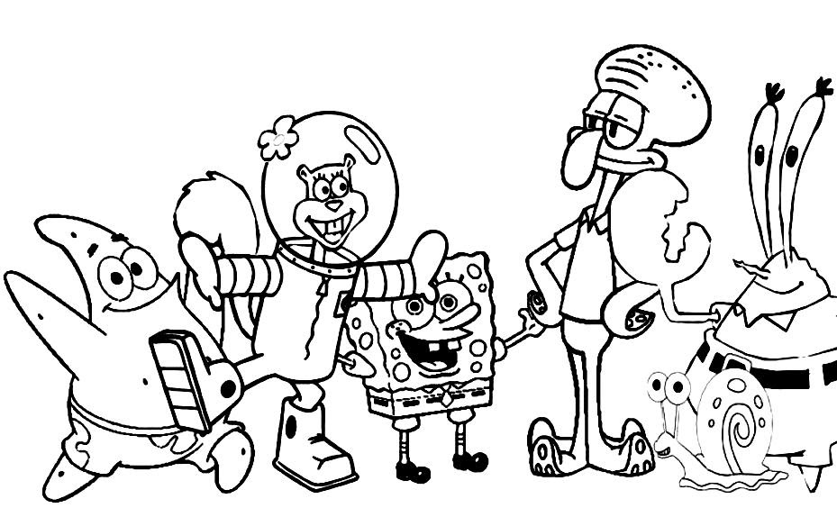Coloring Pages For Kids Spongebob Drawing With Crayons