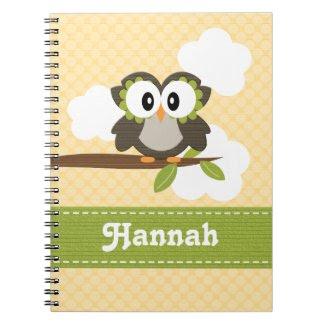 Yellow Owl Spiral Notebook Journal notebook
