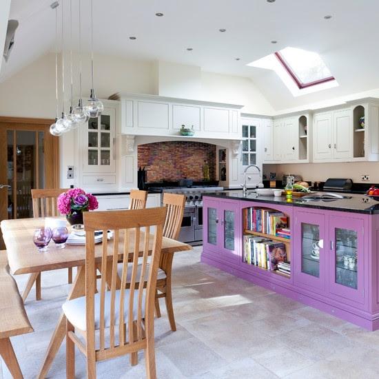 Plum and white kitchen diner   housetohome.co.uk