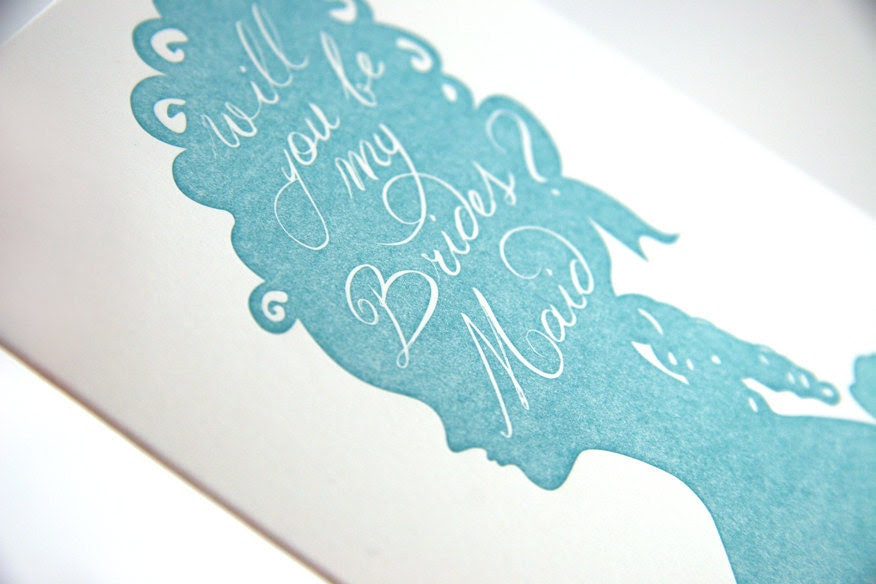 Letterpressed Will You Be My Bridesmaid Card by drippyink etsy