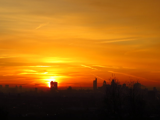 Sunrise over London seen From Parliament Hill