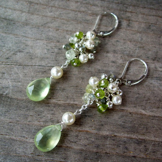 green bridal earrings